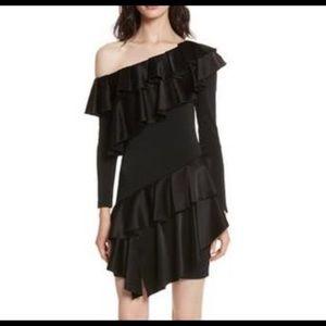Alice + Olivia Izzy One Shoulder Ruffle Dress SZ 4